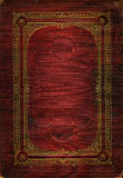 Old red leather texture with gold decorative frame Stock Photos
