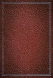 Old red leather texture with silver frame Royalty Free Stock Photography