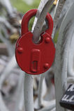 Old red lock, macro Royalty Free Stock Photos