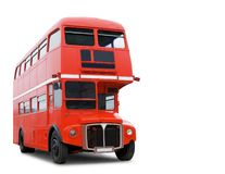 Old Red London Bus isolated stock image
