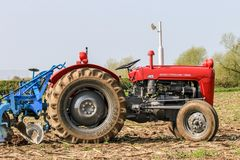 Old red massey fergusen tractor at ploughing match Royalty Free Stock Images