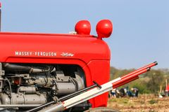 Old red massey fergusen tractor at ploughing match Stock Photos
