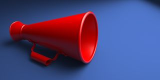 Old Red Megaphone or Bullhorn . Stock Photo