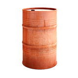 Old red metal barrel Royalty Free Stock Photos