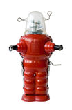 Old red metal robot. Vintage toy Stock Image