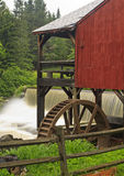 Old Red Mill & Waterfall Royalty Free Stock Photography
