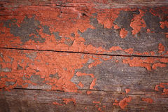Old red ocher paint on wooden boards Royalty Free Stock Images