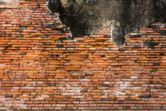 Old red and orange brick wall. Old brick wall pattern of red orange with lots of texture useful for backgrounds and wallpapers royalty free stock photo