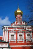 Old red orthodox church in Novodevichy convent in Moscow Stock Image