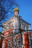 Old red orthodox church in Novodevichy convent in Moscow Royalty Free Stock Photography