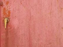 Old red painted steel door Royalty Free Stock Images
