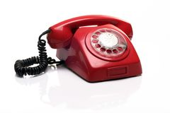 Old red phone Stock Image