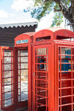 Old Red Phone Booths Stock Photography