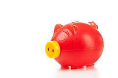 Old red piggy bank Stock Photo