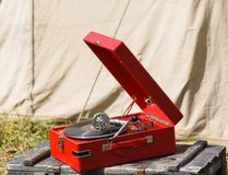 Old red portable gramophone Stock Images