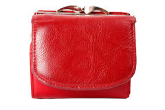 Old red purse. Isolated on white Royalty Free Stock Images