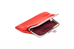 Old red purse against. On white Stock Photo