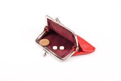 Old red purse against. With coin and tablets Royalty Free Stock Photography