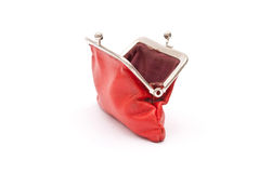 Old red purse against Royalty Free Stock Images
