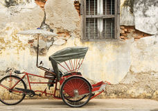 Old Red Rickshaw Stock Photo