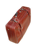 Old red road suitcase Stock Images