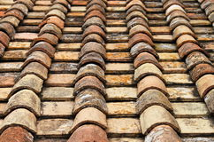 Old red roof clay tiles Stock Photography