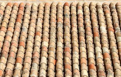 Old red roof clay tiles Stock Photo