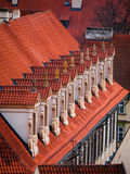 Old red roof with dormer-windows Royalty Free Stock Photos