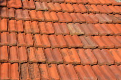 Old red roof texture tile Stock Photo