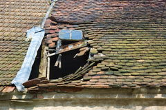 Old red roof tile restoration Royalty Free Stock Photos