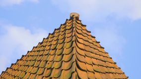 Old Red Roof Tiles stock video footage