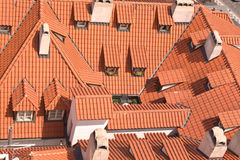 Old red roofs with dormers Stock Images
