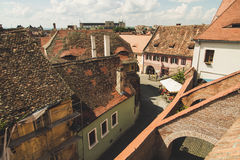 Old red roofs of wonderful town Sibiu in Transylvania, Romania Stock Photos