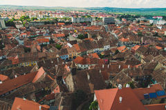 Old red roofs of wonderful town Sibiu in Transylvania, Romania Royalty Free Stock Images