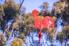 Old Red rooster weather vane stock photo