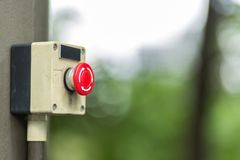 Old refresh button. Old red round button with arrows Stock Image