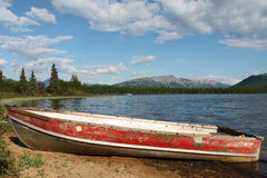 Old Red Rowboat Stock Photos