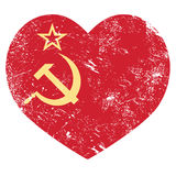 Communism USSR - Soviet union retro heart flag. Old red Russian Federation vintage flag - grunge style Royalty Free Stock Photos