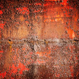 Old red rusted iron wall, square background texture Royalty Free Stock Photos