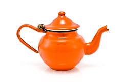 Old red rustic tea pot Royalty Free Stock Images