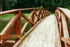 Old Red Rustic Wooden Bridge Background Royalty Free Stock Image