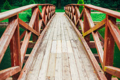 Old Red Rustic Wooden Bridge Background Royalty Free Stock Photos