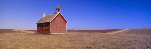 Old Red Schoolhouse. On prairie, Battle Lake, Minnesota Stock Image