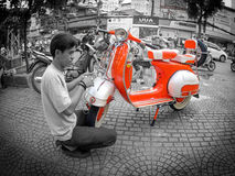 An old red scooter in vietnam Stock Images