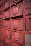 Old red shoes cabinet Royalty Free Stock Photography