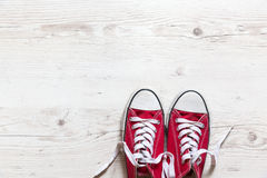 Old red shoes Stock Photos