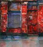 Old red shop. Disused shop in Glasgow,Scotland vector illustration