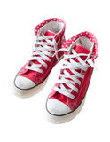 Old red  sneaker shoes isolated white Royalty Free Stock Photography
