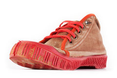 Old red sport shoes stock photos