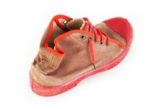 Old red sport shoes Stock Photography
